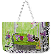 My Happy Place -- Drawing Of Colorful Moroccan Porch Weekender Tote Bag