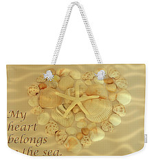 Weekender Tote Bag featuring the photograph My Heart Belongs To The Sea by Angie Tirado