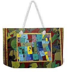 Weekender Tote Bag featuring the painting My Little Town by Bernard Goodman