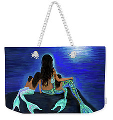 Weekender Tote Bag featuring the painting My Precious Bunch by Leslie Allen