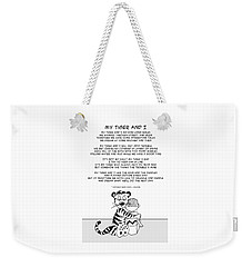 Weekender Tote Bag featuring the drawing My Tiger And I by John Haldane