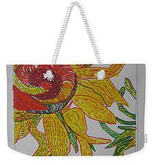 Weekender Tote Bag featuring the drawing My Version Of A Van Gogh Sunflower by AJ Brown