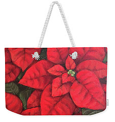 My Very Red Poinsettia Weekender Tote Bag by Inese Poga
