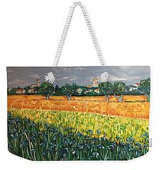 My View Of Arles With Irises Weekender Tote Bag by Belinda Low
