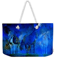 Weekender Tote Bag featuring the painting My Whole World Turns Misty Blue by Hanne Lore Koehler