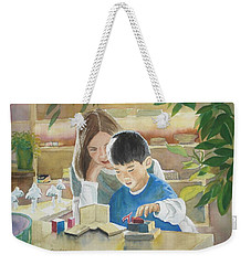Weekender Tote Bag featuring the painting My Work by Marilyn Jacobson