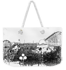Myrtle Beach Pavillion Amusement Park Monotone Weekender Tote Bag by Bob Pardue