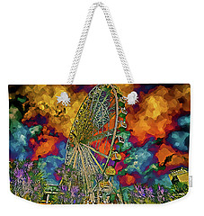 Weekender Tote Bag featuring the photograph Myrtle Beach Skywheel Abstract by Bill Barber