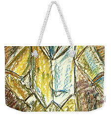 Weekender Tote Bag featuring the painting Mystery Man by Cathie Richardson