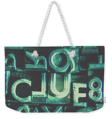 Weekender Tote Bag featuring the photograph Mystery Writer Clue by Jorgo Photography - Wall Art Gallery