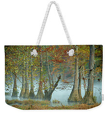 Weekender Tote Bag featuring the photograph Mystical Mist by Iris Greenwell