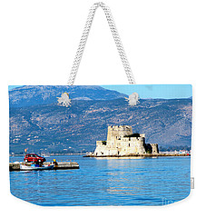 Weekender Tote Bag featuring the photograph Naflion Greece Harbor Fortress by Phyllis Kaltenbach