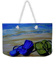 Weekender Tote Bag featuring the painting Naked Feet On The Beach by Patti Schermerhorn