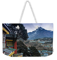 Weekender Tote Bag featuring the photograph Namche Monastery Morning Sunrays by Mike Reid