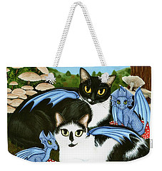 Weekender Tote Bag featuring the painting Nami And Rookia's Dragons - Tuxedo Cats by Carrie Hawks