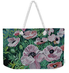 Weekender Tote Bag featuring the painting Nancy's Poppies by Robin Maria Pedrero