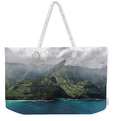 Napali Coast In Clouds And Fog Weekender Tote Bag