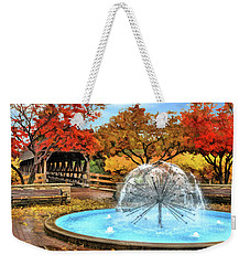 Weekender Tote Bag featuring the painting Naperville Dandelion Fountain by Christopher Arndt