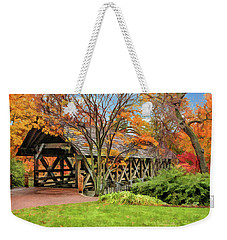 Weekender Tote Bag featuring the painting Naperville Riverwalk Covered Bridge by Christopher Arndt