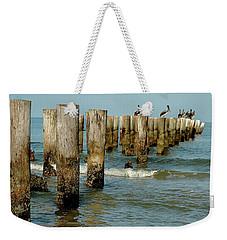 Naples Pier And Pelicans Weekender Tote Bag