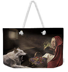 Weekender Tote Bag featuring the digital art Naptime Story by Nicole Wilde