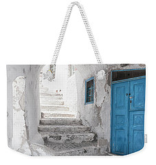 Narrow Alley And Stairway On Santorini Weekender Tote Bag