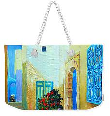 Weekender Tote Bag featuring the painting Narrow Street In Hammamet by Ana Maria Edulescu