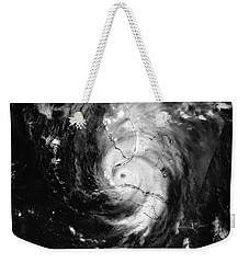 Weekender Tote Bag featuring the photograph Nasa Hurricane Irma Between Cuba And Florida Satellite Image by Rose Santuci-Sofranko