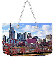 Nashville On The Riverfront Weekender Tote Bag by Frozen in Time Fine Art Photography