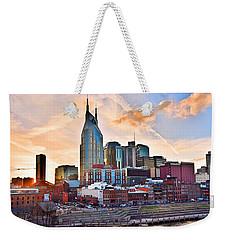Nashville Skyline At Sunset Weekender Tote Bag
