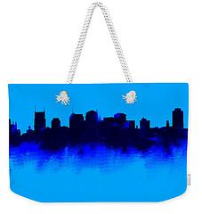 Nashville  Skyline Blue  Weekender Tote Bag by Enki Art