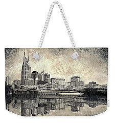 Weekender Tote Bag featuring the mixed media Nashville Skyline II by Janet King