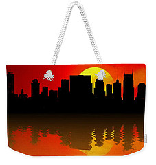 Nashville Skyline Sunset Reflection Weekender Tote Bag by Dan Sproul