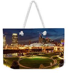 Weekender Tote Bag featuring the photograph Nashville Twilight Skyline by Brian Jannsen