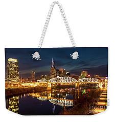 Weekender Tote Bag featuring the photograph Nashville Twilight Skyline II by Brian Jannsen