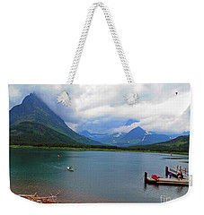 Weekender Tote Bag featuring the photograph National Parks. Serenity Of Mcdonald by Ausra Huntington nee Paulauskaite