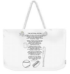 Weekender Tote Bag featuring the drawing National Pastime by John Haldane