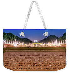 Weekender Tote Bag featuring the photograph National World War 2 And Lincoln Memorial by Rima Biswas