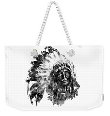 Weekender Tote Bag featuring the mixed media Native American Chief Black And White by Marian Voicu
