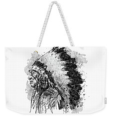 Weekender Tote Bag featuring the mixed media Native American Chief Side Face Black And White by Marian Voicu