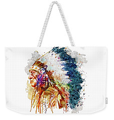Native American Chief Side Face Weekender Tote Bag by Marian Voicu