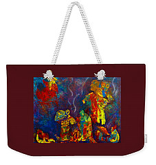 Weekender Tote Bag featuring the painting Native American Fire Spirits by Claire Bull