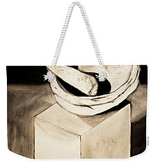 Weekender Tote Bag featuring the drawing Native American Grinding Stones by Ayasha Loya