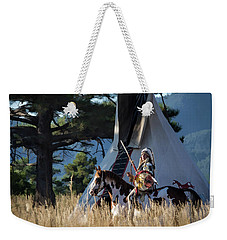 Native American In Full Headdress In Front Of Teepee Weekender Tote Bag by Nadja Rider