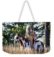 Native American In Full Headdress On A Paint Horse Weekender Tote Bag by Nadja Rider