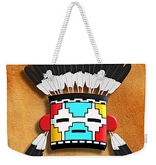 Weekender Tote Bag featuring the digital art Native American Indian Kachina Mask by John Wills