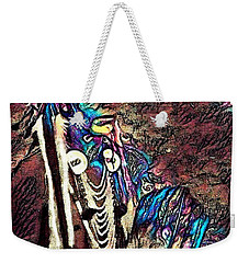 Plains Indian Warrior With Buffalo Headdress In The Trees Weekender Tote Bag