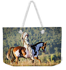 Native American On His Paint Horse Weekender Tote Bag by Nadja Rider