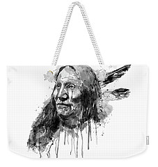Weekender Tote Bag featuring the mixed media Native American Portrait Black And White by Marian Voicu