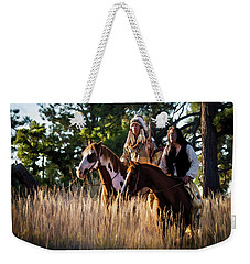 Native Americans On Horses In The Morning Light Weekender Tote Bag by Nadja Rider